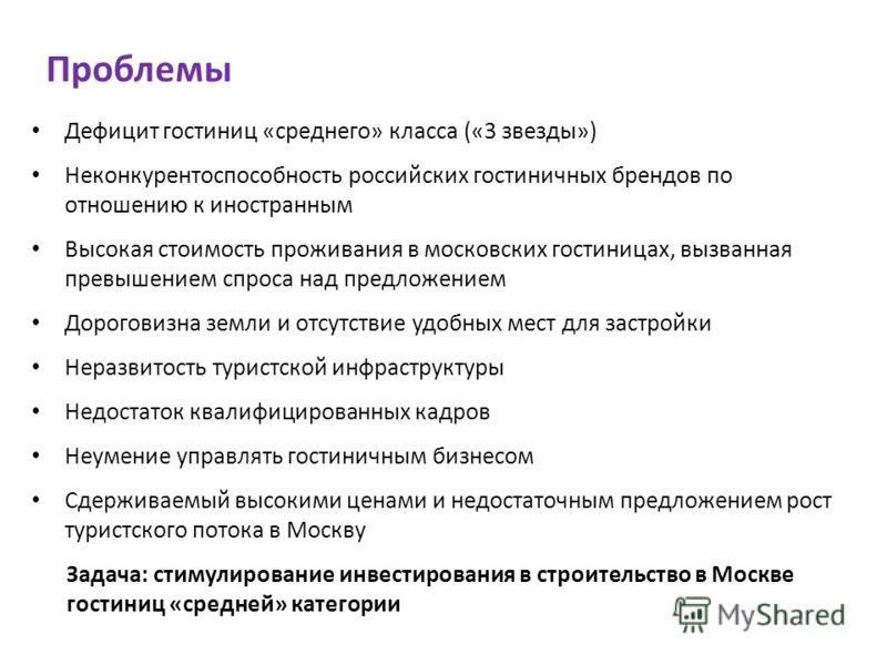 Проблемы Дефицит гостиниц «среднего» класса («3 звезды») Неконкурентоспособность российских гостиничных брендов по отношению к иностранным Высокая стоимость проживания в московских гостиницах, вызванная превышением спроса над предложением Дороговизна