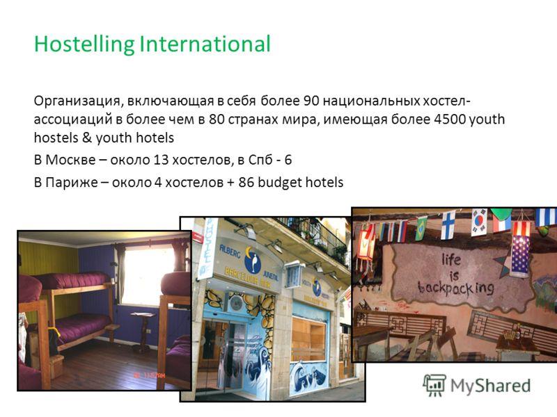 Hostelling International Организация, включающая в себя более 90 национальных хостел- ассоциаций в более чем в 80 странах мира, имеющая более 4500 youth hostels & youth hotels В Москве – около 13 хостелов, в Спб - 6 В Париже – около 4 хостелов + 86 b