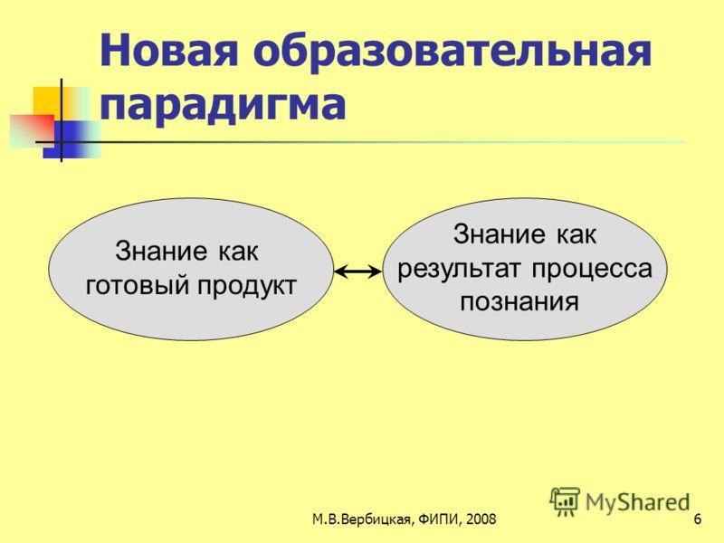 Новая образовательная парадигма Знание как результат процесса познания Знание как готовый продукт 6М.В.Вербицкая, ФИПИ, 2008