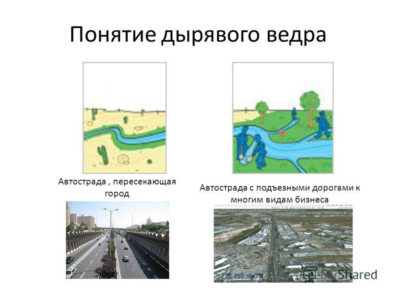 Понятие дырявого ведра Автострада, пересекающая город Автострада с подъезными дорогами к многим видам бизнеса