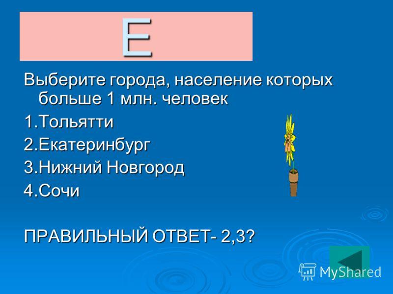 Е Выберите города, население которых больше 1 млн. человек 1.Тольятти2.Екатеринбург 3.Нижний Новгород 4.Сочи ПРАВИЛЬНЫЙ ОТВЕТ- 2,3?