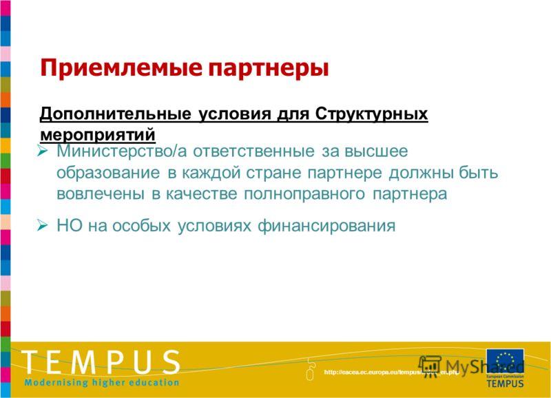http://eacea.ec.europa.eu/tempus/index_en.php Приемлемые партнеры Дополнительные условия для Структурных мероприятий Министерство/а ответственные за высшее образование в каждой стране партнере должны быть вовлечены в качестве полноправного партнера Н