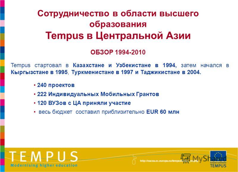 http://eacea.ec.europa.eu/tempus/index_en.php Сотрудничество в области высшего образования Tempus в Центральной Азии ОБЗОР 1994-2010 Tempus стартовал в Казахстане и Узбекистане в 1994, затем начался в Кыргызстане в 1995, Туркменистане в 1997 и Таджик