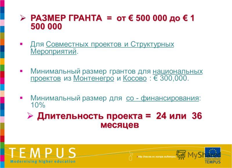 http://eacea.ec.europa.eu/tempus/index_en.php РАЗМЕР ГРАНТА = от 500 000 до 1 500 000 РАЗМЕР ГРАНТА = от 500 000 до 1 500 000 Для Совместных проектов и Структурных Мероприятий. Минимальный размер грантов для национальных проектов из Монтенегро и Косо