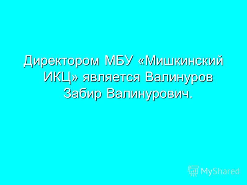Директором МБУ «Мишкинский ИКЦ» является Валинуров Забир Валинурович.
