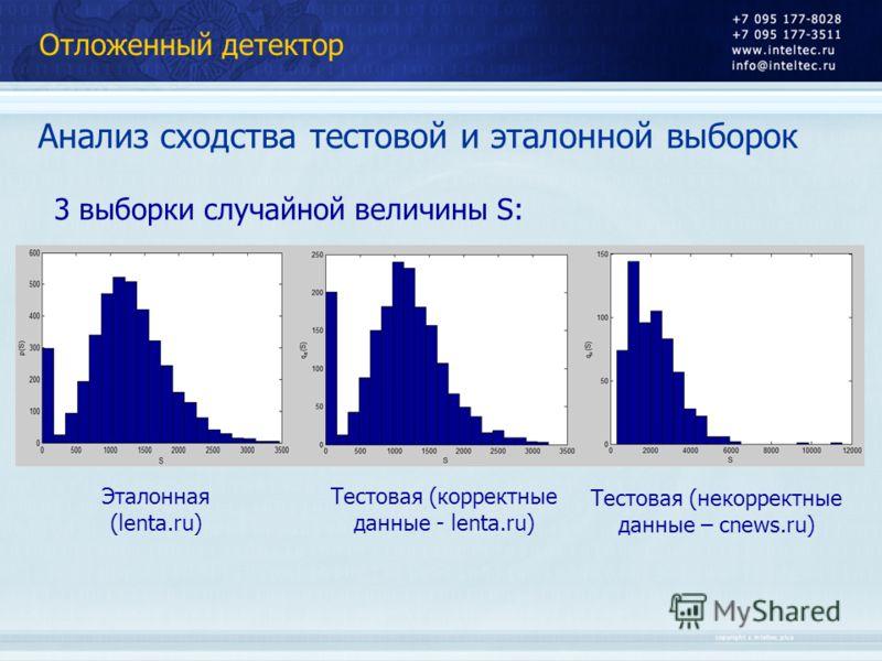 Отложенный детектор Анализ сходства тестовой и эталонной выборок Эталонная (lenta.ru) Тестовая (корректные данные - lenta.ru) Тестовая (некорректные данные – cnews.ru) 3 выборки случайной величины S: