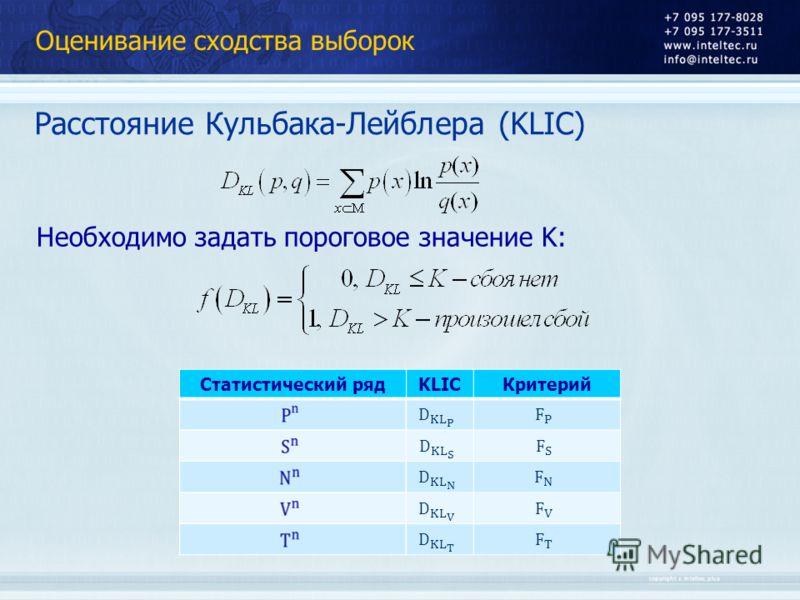 Оценивание сходства выборок Расстояние Кульбака-Лейблера (KLIC) Статистический рядKLICКритерий Необходимо задать пороговое значение K: