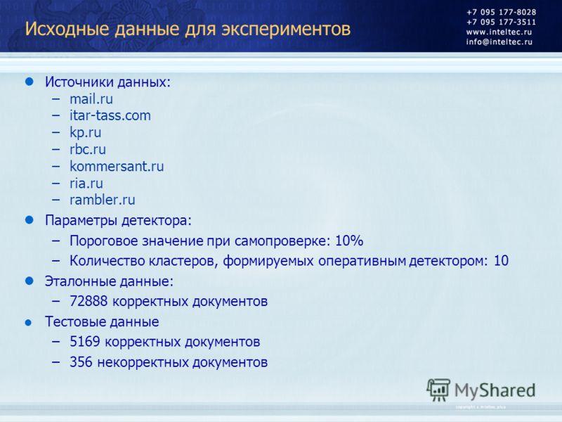 Исходные данные для экспериментов Источники данных: –mail.ru –itar-tass.com –kp.ru –rbc.ru –kommersant.ru –ria.ru –rambler.ru Параметры детектора: –Пороговое значение при самопроверке: 10% –Количество кластеров, формируемых оперативным детектором: 10