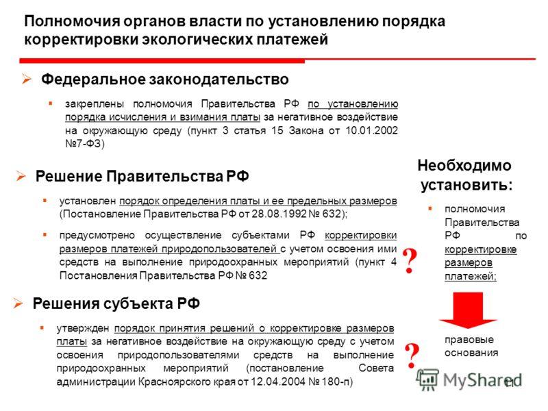 11 Необходимо установить: полномочия Правительства РФ по корректировке размеров платежей; правовые основания Полномочия органов власти по установлению порядка корректировки экологических платежей Федеральное законодательство закреплены полномочия Пра