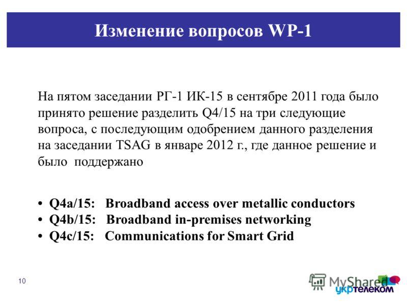 Изменение вопросов WP-1 10 На пятом заседании РГ-1 ИК-15 в сентябре 2011 года было принято решение разделить Q4/15 на три следующие вопроса, с последующим одобрением данного разделения на заседании TSAG в январе 2012 г., где данное решение и было под