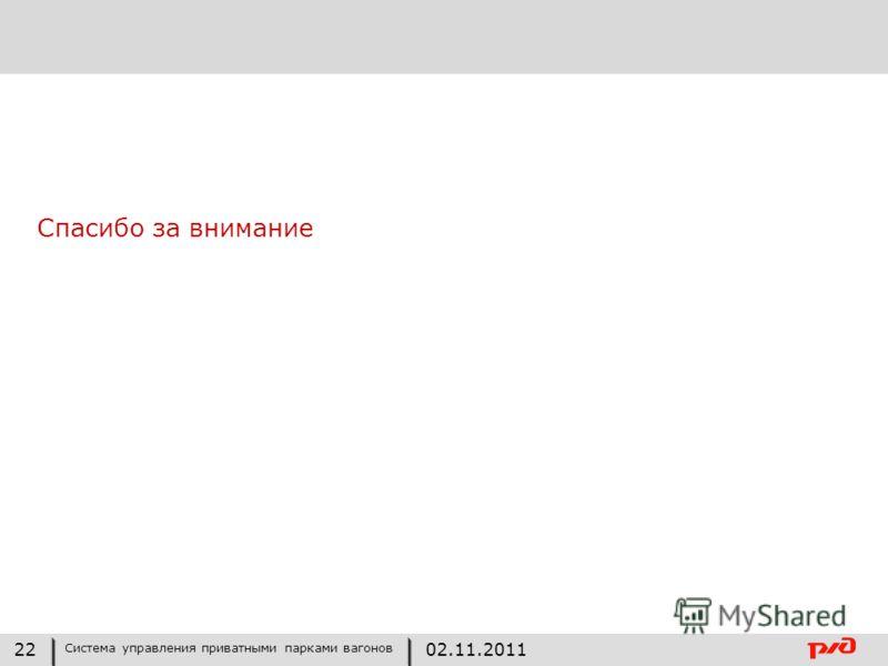 Спасибо за внимание 22 Система управления приватными парками вагонов 02.11.2011