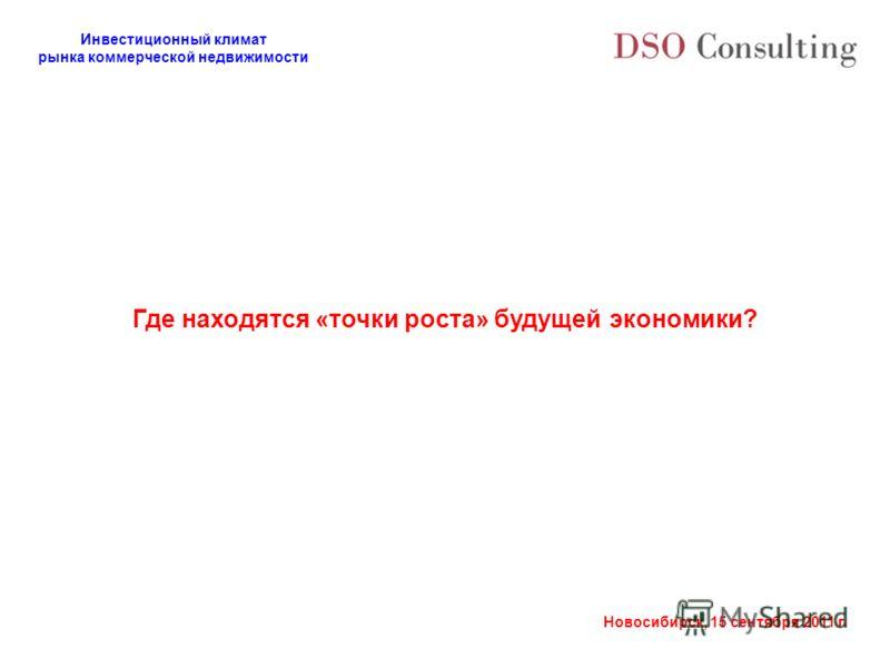 Инвестиционный климат рынка коммерческой недвижимости Новосибирск, 15 сентября 2011 г. Где находятся «точки роста» будущей экономики?
