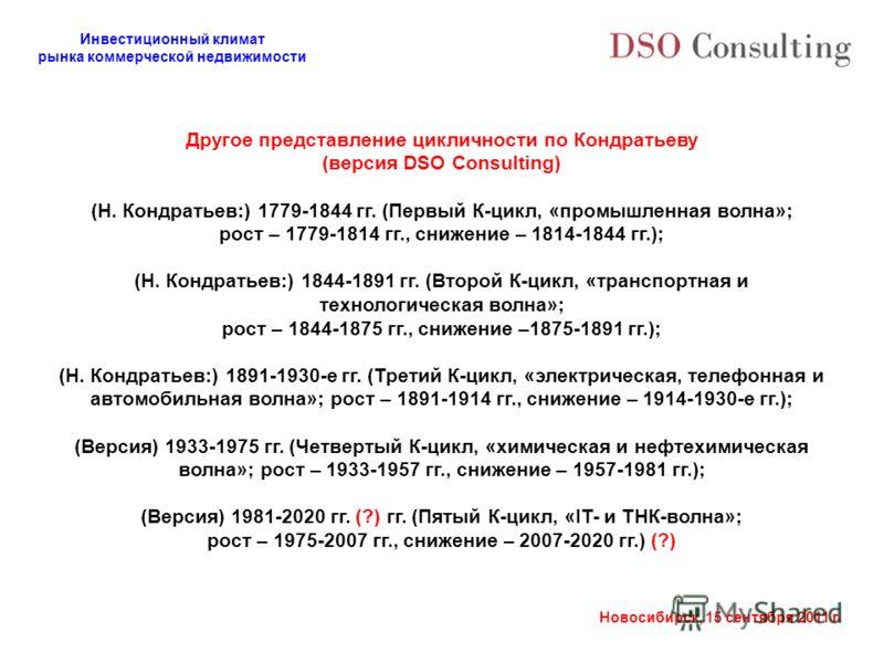 Инвестиционный климат рынка коммерческой недвижимости Новосибирск, 15 сентября 2011 г. Другое представление цикличности по Кондратьеву (версия DSO Consulting) (Н. Кондратьев:) 1779-1844 гг. (Первый К-цикл, «промышленная волна»; рост – 1779-1814 гг.,