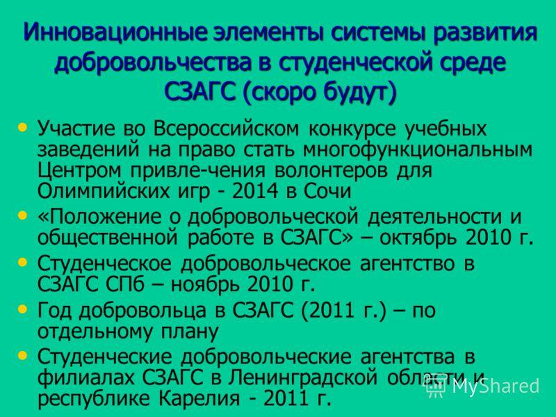 Инновационные элементы системы развития добровольчества в студенческой среде СЗАГС (скоро будут) Участие во Всероссийском конкурсе учебных заведений на право стать многофункциональным Центром привле-чения волонтеров для Олимпийских игр - 2014 в Сочи