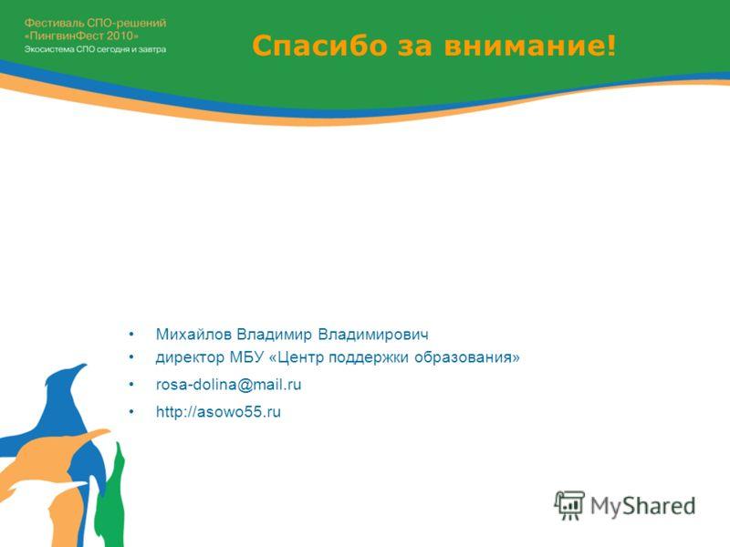 Спасибо за внимание! Михайлов Владимир Владимирович директор МБУ «Центр поддержки образования» rosa-dolina@mail.ru http://asowo55.ru