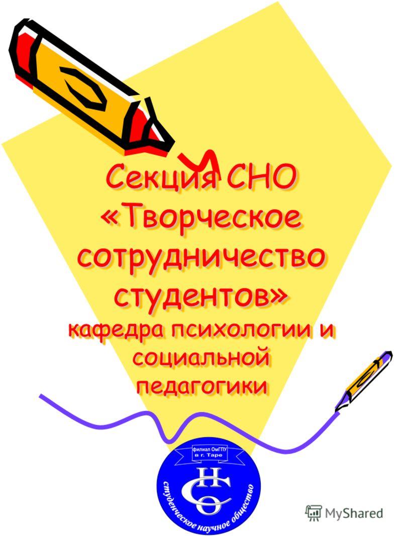 Секция СНО «Творческое сотрудничество студентов» кафедра психологии и социальной педагогики
