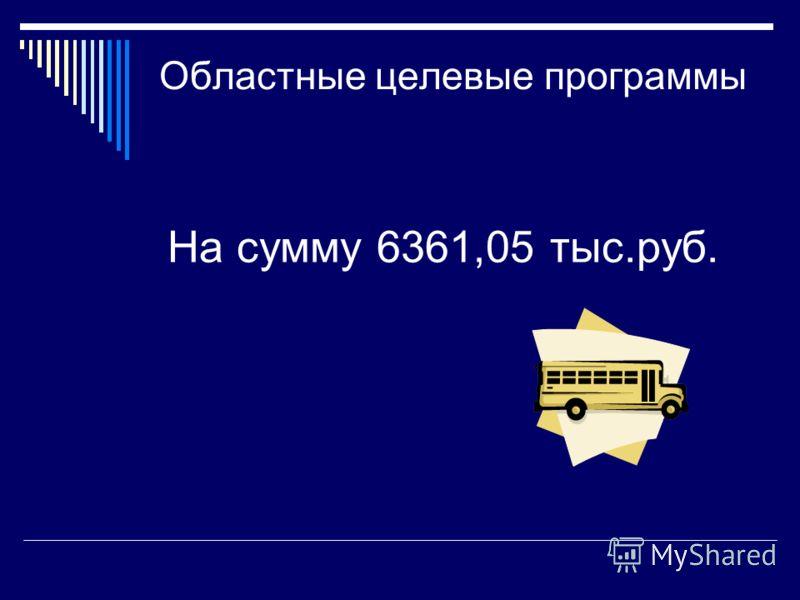 Областные целевые программы На сумму 6361,05 тыс.руб.