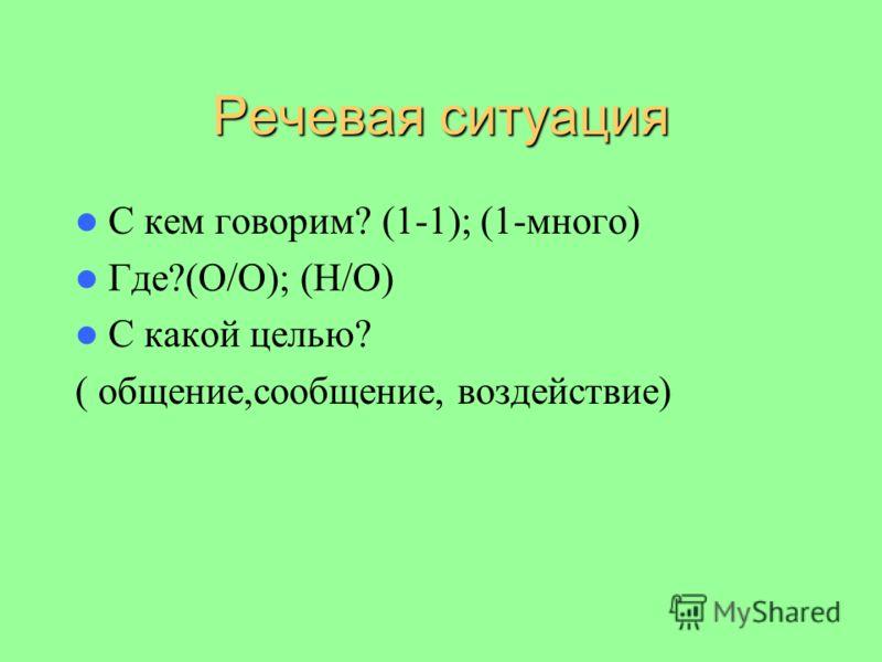 Речевая ситуация С кем говорим? (1-1); (1-много) Где?(О/О); (Н/О) С какой целью? ( общение,сообщение, воздействие)