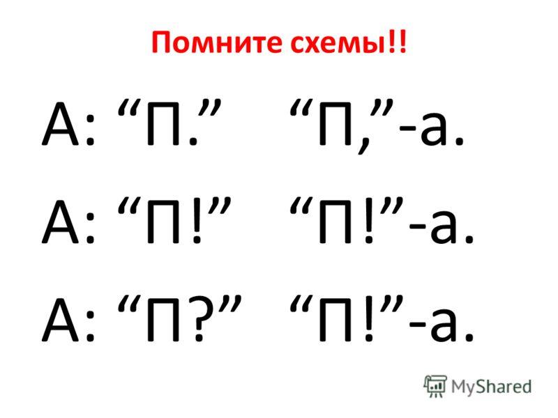 Помните схемы!! А: П. А: П! А: П? П,-а. П!-а.