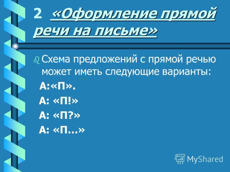«Оформление прямой речи на письме» 2 «Оформление прямой речи на письме» b b Схема предложений с прямой речью может иметь следующие варианты: А:«П». А: «П!» А: «П?» А: «П…»