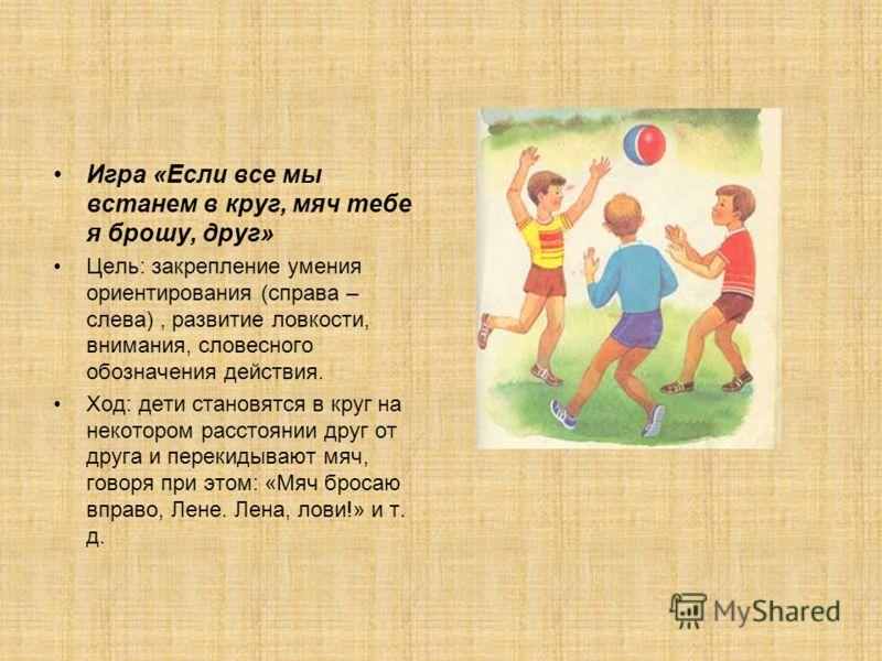 Игра «Если все мы встанем в круг, мяч тебе я брошу, друг» Цель: закрепление умения ориентирования (справа – слева), развитие ловкости, внимания, словесного обозначения действия. Ход: дети становятся в круг на некотором расстоянии друг от друга и пере