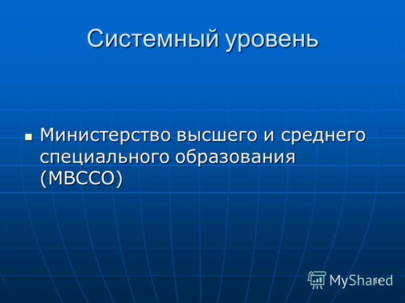12 Системный уровень Министерство высшего и среднего специального образования (МВССО) Министерство высшего и среднего специального образования (МВССО)