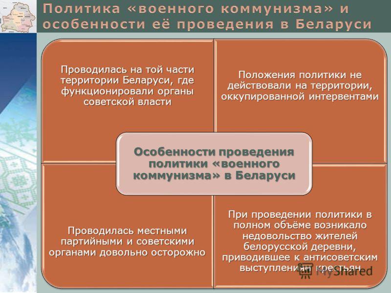 Проводилась на той части территории Беларуси, где функционировали органы советской власти Положения политики не действовали на территории, оккупированной интервентами Проводилась местными партийными и советскими органами довольно осторожно При провед