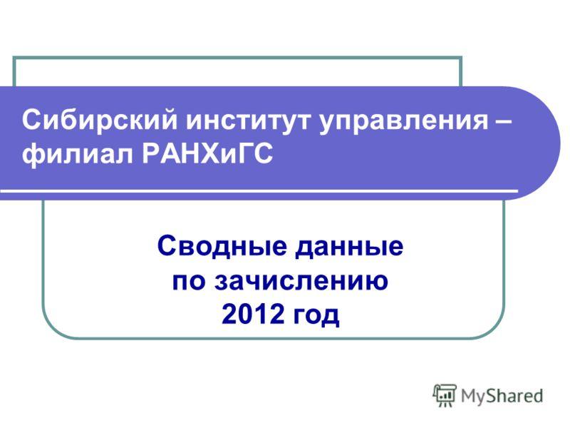 Сибирский институт управления – филиал РАНХиГС Сводные данные по зачислению 2012 год