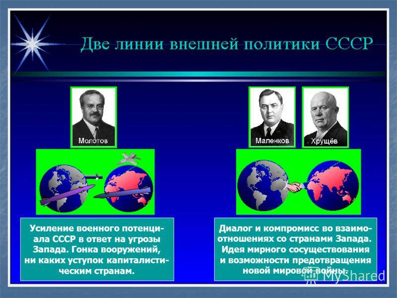 Усиление военного потенци- ала СССР в ответ на угрозы Запада. Гонка вооружений, ни каких уступок капиталисти- ческим странам. Диалог и компромисс во взаимо- отношениях со странами Запада. Идея мирного сосуществования и возможности предотвращения ново