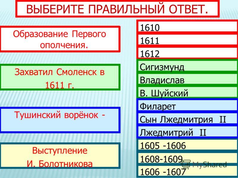 ВЫБЕРИТЕ ПРАВИЛЬНЫЙ ОТВЕТ. Образование Первого ополчения. Захватил Смоленск в 1611 г. Тушинский ворёнок - Выступление И. Болотникова 1610 1611 1612 Сигизмунд Владислав В. Шуйский 1605 -1606 1608-1609 1606 -1607 Филарет Сын Лжедмитрия II Лжедмитрий II