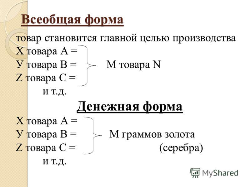 Всеобщая форма Всеобщая форма товар становится главной целью производства Х товара А = У товара В = М товара N Z товара С = и т.д. Денежная форма Х товара А = У товара В = М граммов золота Z товара С = (серебра) и т.д.