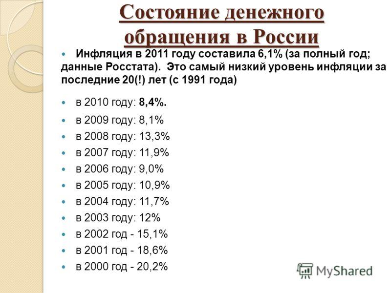 Состояние денежного обращения в России Инфляция в 2011 году составила 6,1% (за полный год; данные Росстата). Это самый низкий уровень инфляции за последние 20(!) лет (с 1991 года) в 2010 году: 8,4%. в 2009 году: 8,1% в 2008 году: 13,3% в 2007 году: 1