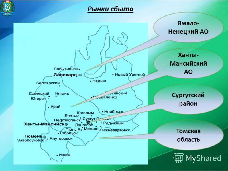 Рынки сбыта Ямало- Ненецкий АО Ханты- Мансийский АО Сургутский район Томская область