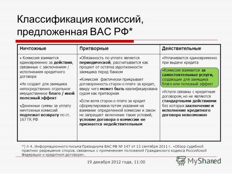 Классификация комиссий, предложенная ВАС РФ* НичтожныеПритворныеДействительные Комиссия взимается единовременно за действия, связанные с заключением / исполнением кредитного договора Не создает для заемщика непосредственно отдельное имущественное бла