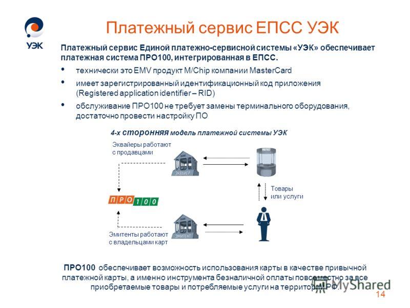 Платежный сервис ЕПСС УЭК Платежный сервис Единой платежно-сервисной системы «УЭК» обеспечивает платежная система ПРО100, интегрированная в ЕПСС. технически это EMV продукт M/Chip компании MasterCard имеет зарегистрированный идентификационный код при