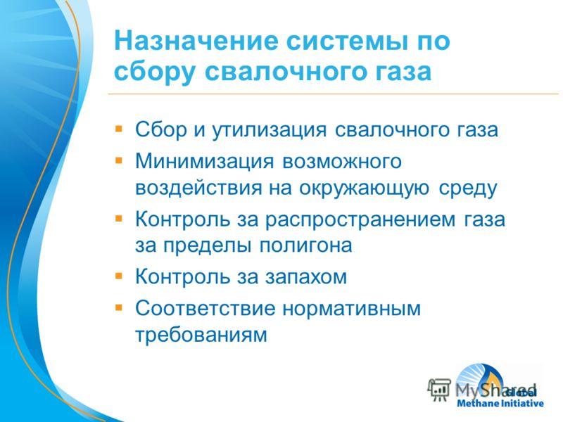 3 Назначение системы по сбору свалочного газа Сбор и утилизация свалочного газа Минимизация возможного воздействия на окружающую среду Контроль за распространением газа за пределы полигона Контроль за запахом Соответствие нормативным требованиям