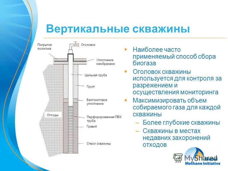 5 Вертикальные скважины Наиболее часто применяемый способ сбора биогаза Оголовок скважины используется для контроля за разрежением и осуществления мониторинга Максимизировать объем собираемого газа для каждой скважины –Более глубокие скважины –Скважи