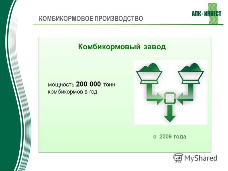 Комбикормовый завод КОМБИКОРМОВОЕ ПРОИЗВОДСТВО с 2009 года мощность 200 000 тонн комбикормов в год