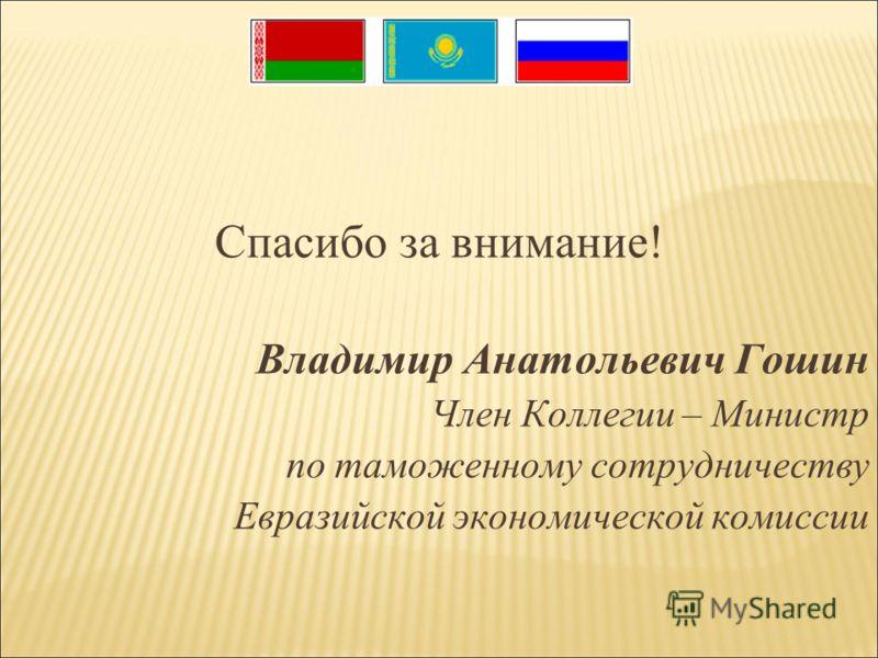 Спасибо за внимание! Владимир Анатольевич Гошин Член Коллегии – Министр по таможенному сотрудничеству Евразийской экономической комиссии