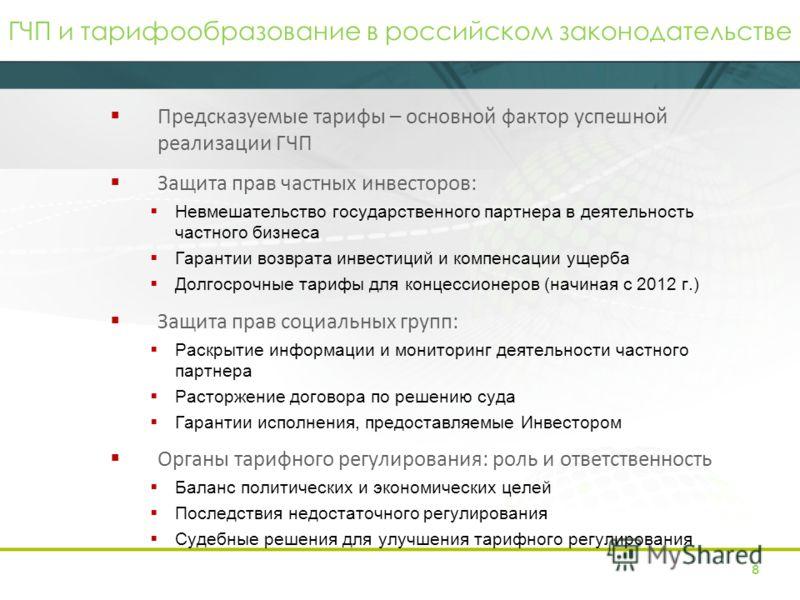 ГЧП и тарифообразование в российском законодательстве Предсказуемые тарифы – основной фактор успешной реализации ГЧП Защита прав частных инвесторов: Невмешательство государственного партнера в деятельность частного бизнеса Гарантии возврата инвестици