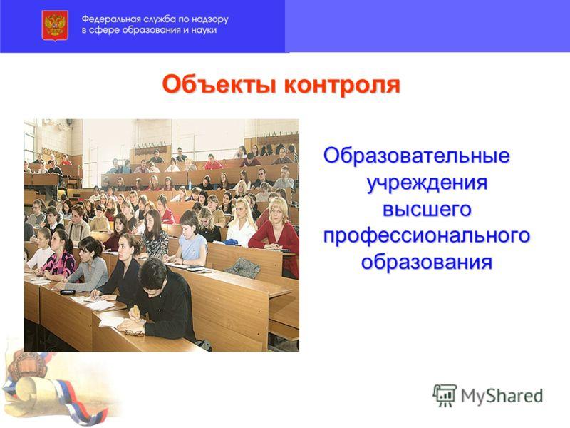 Объекты контроля Образовательные учреждения высшего профессионального образования