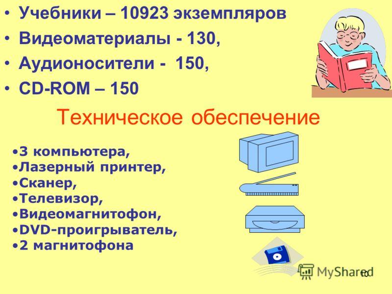 10 Учебники – 10923 экземпляров Видеоматериалы - 130, Аудионосители - 150, CD-ROM – 150 Техническое обеспечение 3 компьютера, Лазерный принтер, Сканер, Телевизор, Видеомагнитофон, DVD-проигрыватель, 2 магнитофона