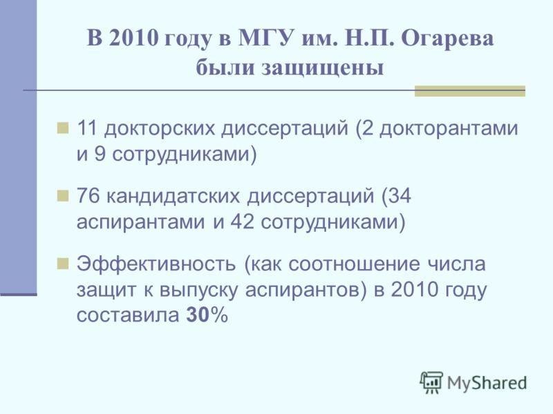 В 2010 году в МГУ им. Н.П. Огарева были защищены 11 докторских диссертаций (2 докторантами и 9 сотрудниками) 76 кандидатских диссертаций (34 аспирантами и 42 сотрудниками) Эффективность (как соотношение числа защит к выпуску аспирантов) в 2010 году с