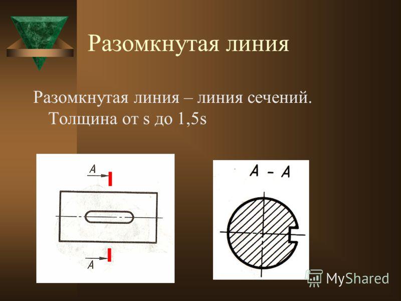 Сплошная волнистая линия Сплошная волнистая линия – линия обрыва, линия разграничения вида и разреза. Толщина линии от s/3 до s/2.