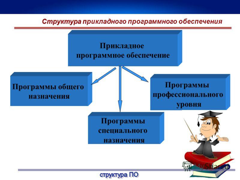 Прикладное программное обеспечение Программы профессионального уровня Программы специального назначения Программы общего назначения Структура п Структура прикладного программного обеспечения