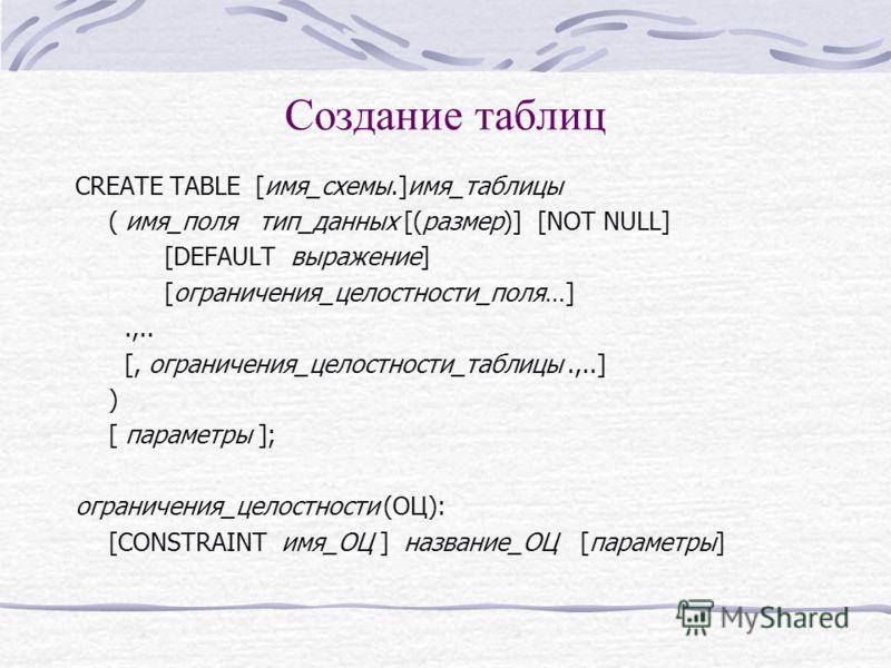 Создание таблиц CREATE TABLE [имя_схемы.]имя_таблицы ( имя_поля тип_данных [(размер)] [NOT NULL] [DEFAULT выражение] [ограничения_целостности_поля…].,.. [, ограничения_целостности_таблицы.,..] ) [ параметры ]; ограничения_целостности (ОЦ): [CONSTRAIN