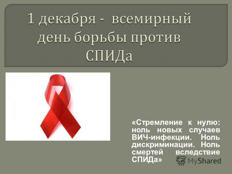 «Стремление к нулю: ноль новых случаев ВИЧ-инфекции. Ноль дискриминации. Ноль смертей вследствие СПИДа»