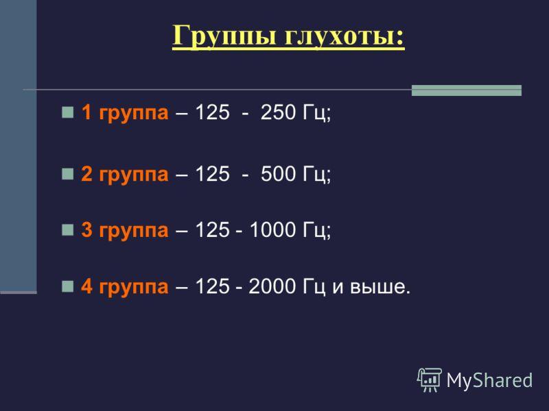 Группы глухоты: 1 группа – 125 - 250 Гц; 2 группа – 125 - 500 Гц; 3 группа – 125 - 1000 Гц; 4 группа – 125 - 2000 Гц и выше.