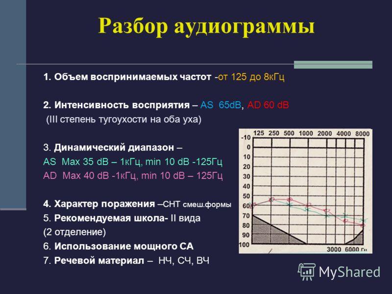 Разбор аудиограммы 1. Объем воспринимаемых частот -от 125 до 8кГц 2. Интенсивность восприятия – AS 65dB, AD 60 dB (III степень тугоухости на оба уха) 3. Динамический диапазон – AS Мax 35 dB – 1кГц, min 10 dB -125Гц AD Max 40 dB -1кГц, min 10 dB – 125