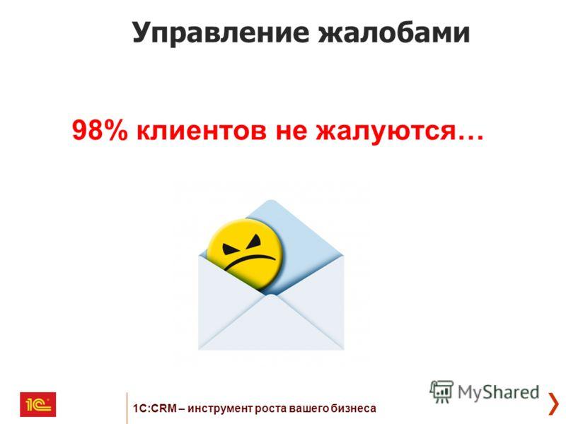 Управление жалобами 98% клиентов не жалуются… 1С:CRM – инструмент роста вашего бизнеса